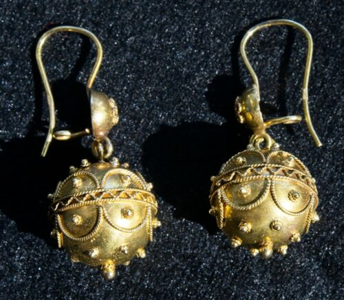 Antique Victorian Etruscan 14k Gold Earrings - dangling, appraised w/ papers