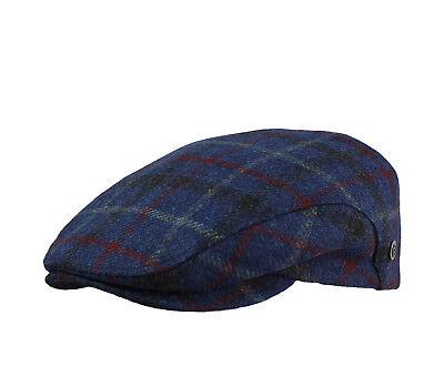 Bugatti Schiebermütze 100% Merino-Wolle Herren Winter Flatcap blau kariert Merino Winter Cap