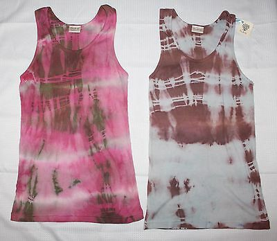 SAY LA VIE Womens Juniors Tie Dye Ribbed Tank Top Blue Brown or Pink Green S NEW