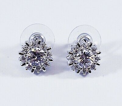 CZ by Kenneth Jay Lane Silver Classic Pinwheel Halo Round Sparkly Stud Earrings