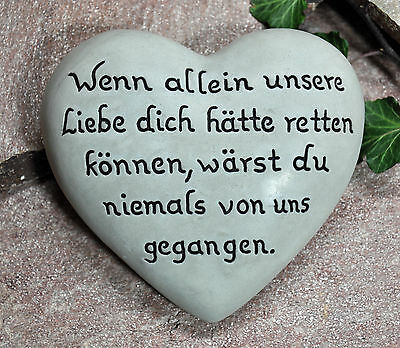 Wenn allein unsere Liebe... Herz mit Inschrift 16,5x15 cm  Grabschmuck Grabstein