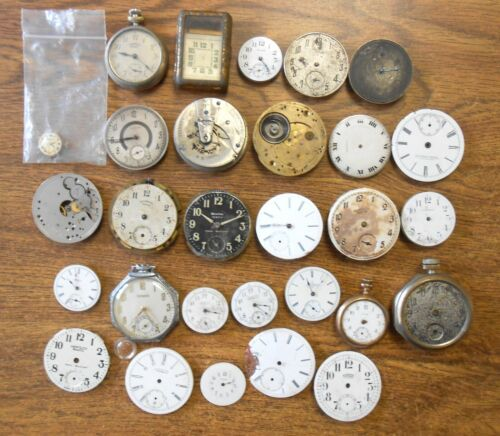 Lot of 25+ Pocket Watch Movements Dials Parts ONLY Waltham Elgin Medina Westclox