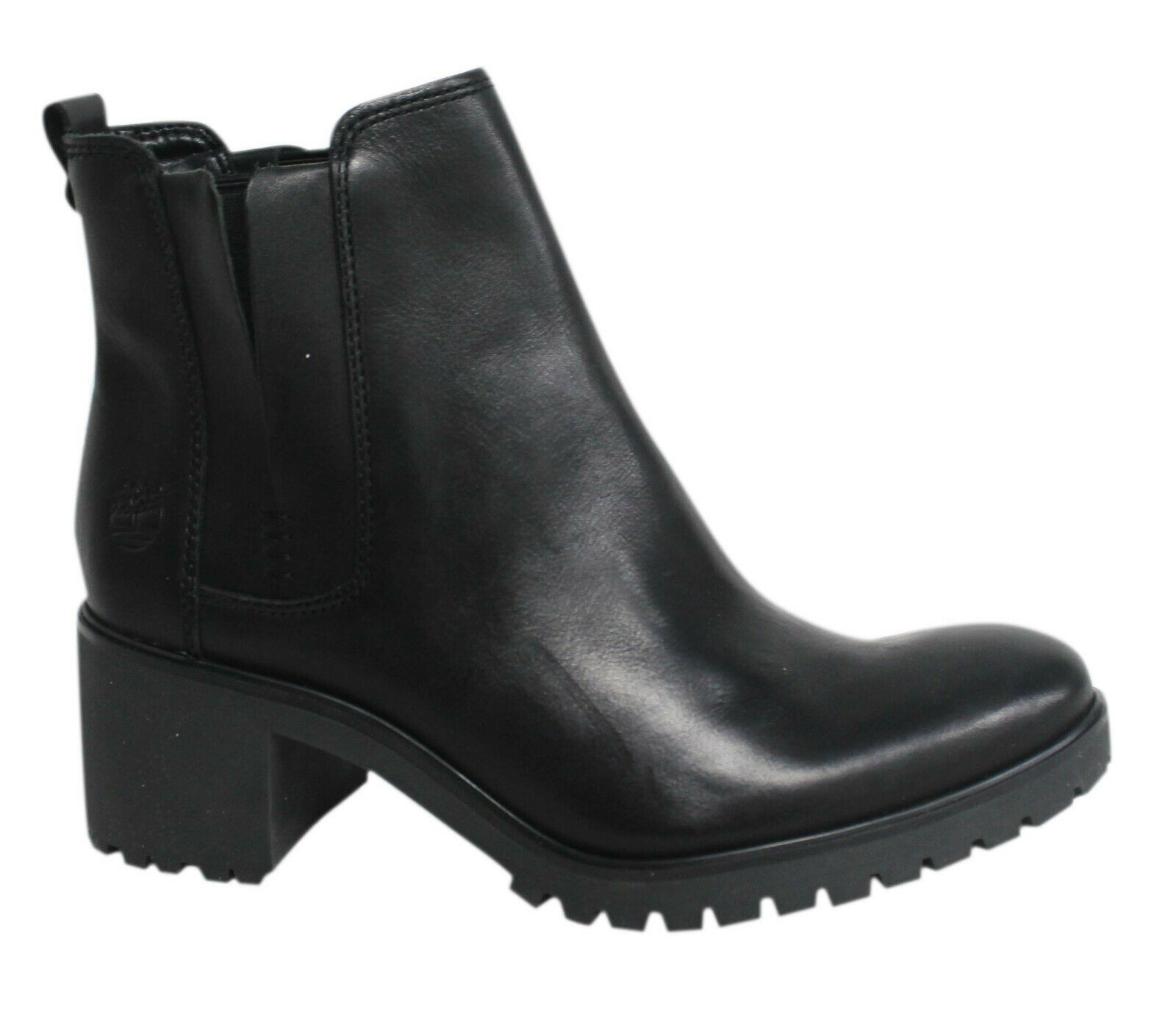 Details about Timberland Averly Slip On Black Leather Womens Heeled Chelsea Boots A11DF B83A