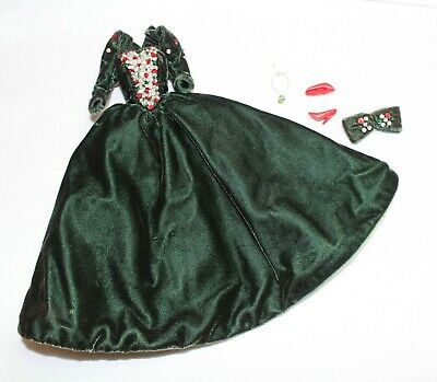 1991 Holiday Barbie Green Velvet Dress Heels and Accessories