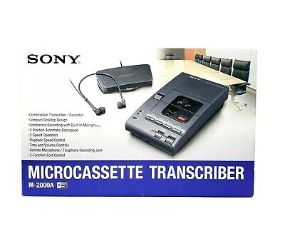 Sony Microcassette Transcriber M-2000a With Foot Pedal Black Vintage Rare New