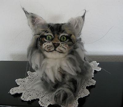 Räumungsverkauf!Süße 3D Maine Coon Katze Filz handgefilzt UNIKAT cat chat gefilz
