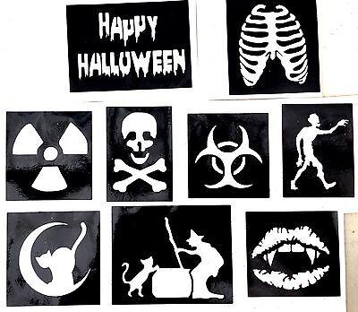 9 x stencils Happy halloween  Ribs Top up Ur glitter tattoo kit facepainting - Happy Halloween Face Painting