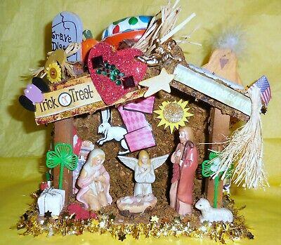 Holi - Daze Mixed Media Collage Folk Art Assemblage Forever Holiday Home Decor