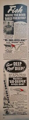 1941 James Heddon's Sons Original Vintage Advertising River Runt Spook Lures