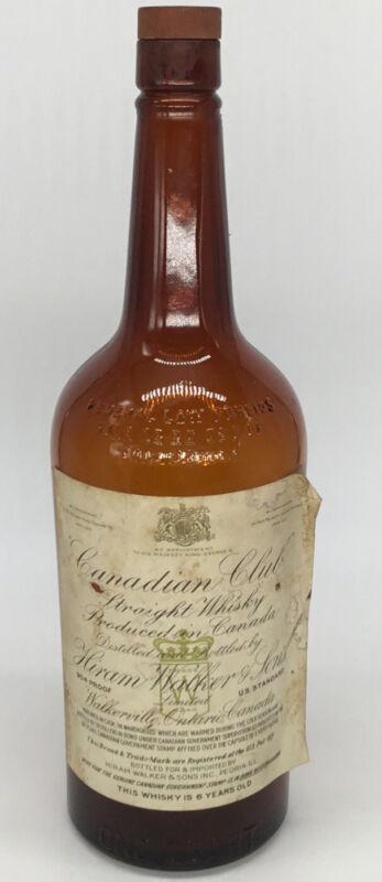 Vintage Canadian Club Empty Whiskey Bottle Hiram Walker & Sons Circa 1940's