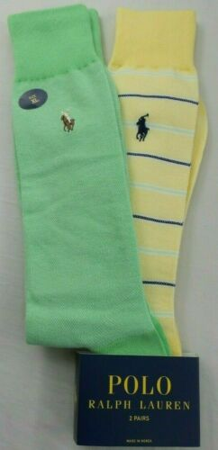 Polo Ralph Lauren Men's Dress Socks 2 Pack XL Yellow Green Herringbone New MP$20