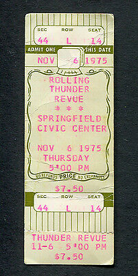 1975 Bob Dylan Rolling Thunder Revue Unused Concert Ticket Springfield Ma Desire