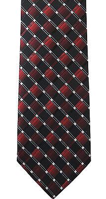 Red / Burgundy and Black Diamond-Grid Pattern Tie Men's Woven Necktie Microfiber - Grid Microfiber Tie