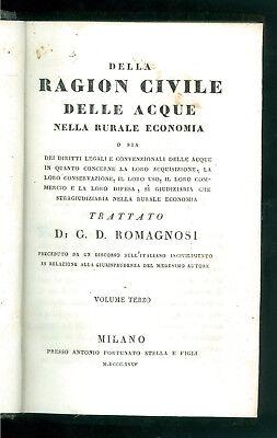 ROMAGNOSI DELLA RAGION CIVILE DELLE ACQUE RURALE ECONOMIA VOLUME 3 STELLA 1835