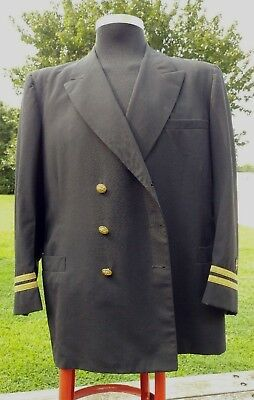 1950s Mens Suits & Sport Coats | 50s Suits & Blazers Men's military jacket suit coat United States Navy Officer estimated 1950s Black $130.00 AT vintagedancer.com