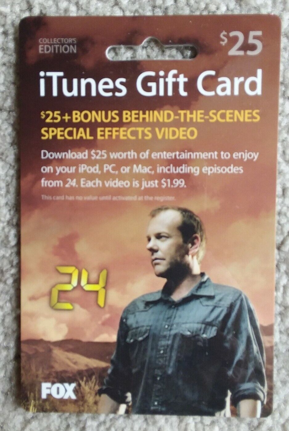 ITunes 24 TV Show KIEFER SUTHERLAND Gift Card COLLECTORS EDITION 2006 NO VALUE - $4.00