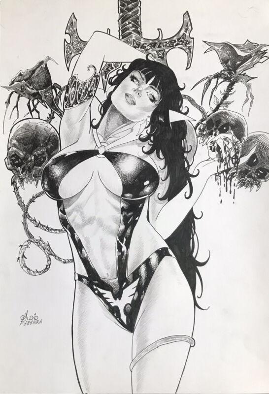 "Vampirella (12""x17"") Original Art Comic By Aldio Ferreira - Ed Benes Studios"