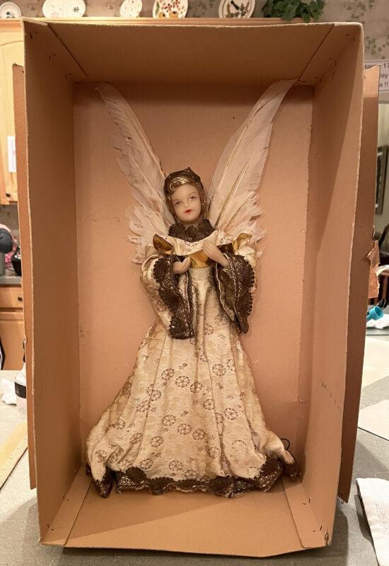 "Vintage RARE 18"" German Wax Christmas Tree Angel Tree Topper-Beige/Gold Dress"
