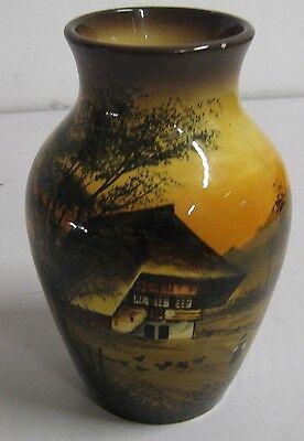 Antik SCHRAMBERG Keramik Vase Bauchvase Motiv Schwarzwald handbemalt Sammelvase