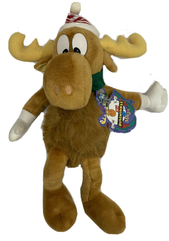 "NWT Vintage 1996 Bullwinkle Moose Macys 24"" Plush Stuffed Animal w/ Rocky"