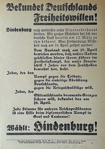 "ORIGINAL GERMAN 1932 PRESIDENTIAL ELECTION of "" PAUL von HINDENBURG "" BROADSIDE."