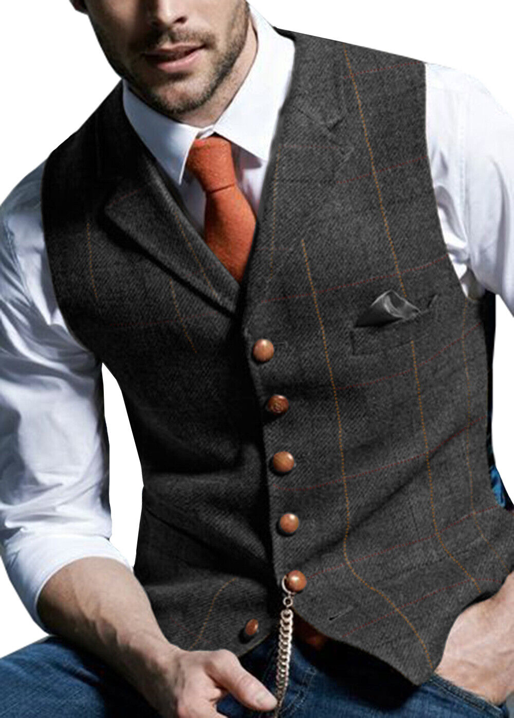 Herren V-Ausschnitt Wolle Herringbone Tweed Casual Westen Anzug 5 Knopf Schwarz+