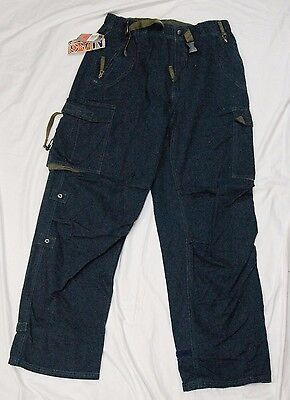 Nesi AG men's cargo pants blue size M new 100% cotton elastic waist + belt ()