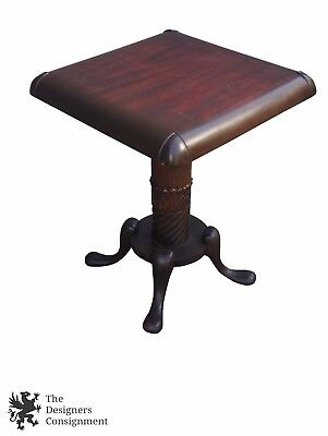 Carved Mahogany Pedestal (Antique Carved Mahogany Accent Side Pedestal Table Barley Twist Baroque)