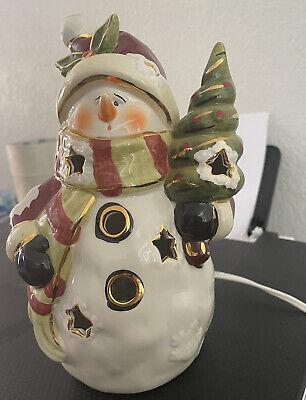 "Large ceramic glass snowman light up night 12"" Christmas Decor Free shipping!"