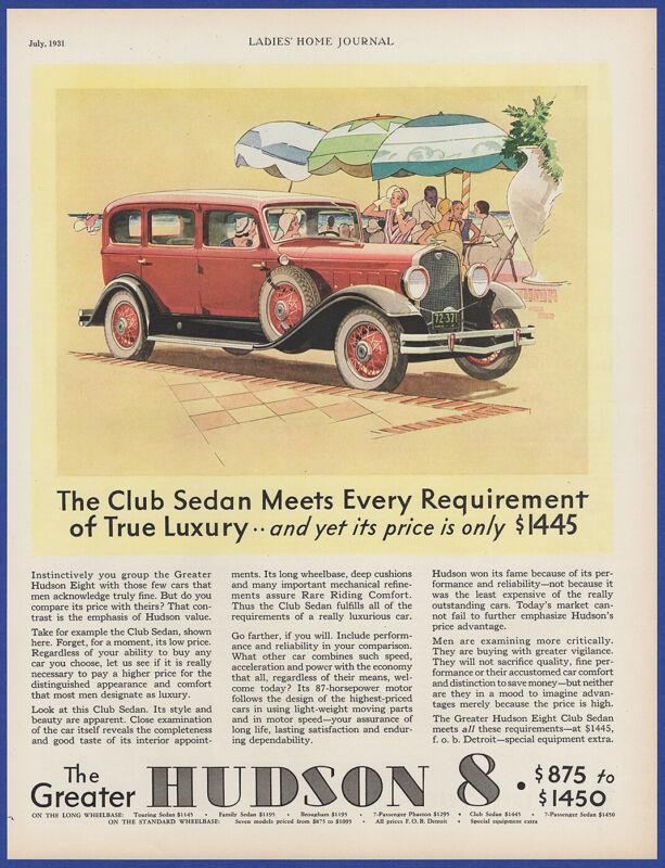 Vintage 1931 HUDSON 8 Club Sedan Automobile Car Art Decor Ephemera Print Ad 30