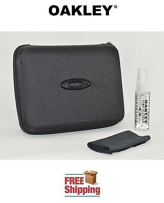 OAKLEY® SUNGLASSES EYEGLASSES EXTRA LARGE STORAGE CASE + CLEANER + CLOTH BLACK for sale  Shipping to Canada