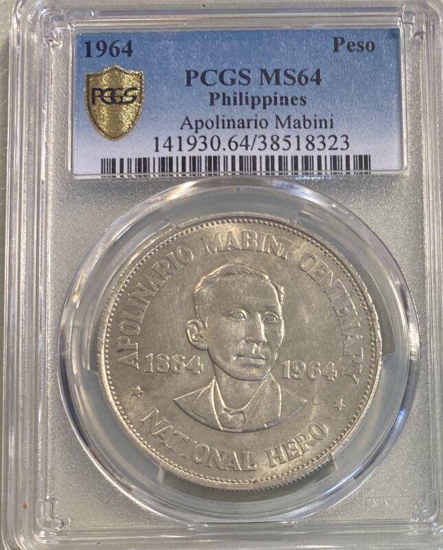 1964 Philippines Silver Peso Apolinario Mabini, PCGS MS 64