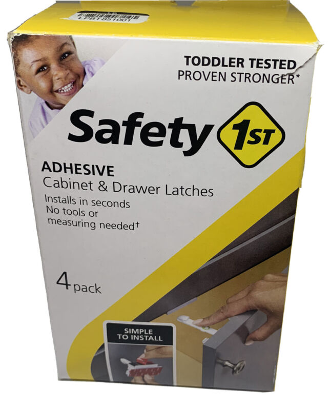 Safety 1st Adhesive Cabinet and Drawer 4 Piece Latch for Childproofing, White
