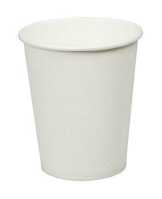 White Paper Cups (100 X 8oz White Paper Cups Cup Disposable Parties Events Hot & Cold Drinks)