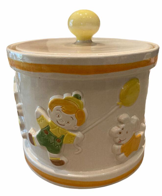 VTG MCM POPPyTRAIL Metlox Cookie Jar Children Puppy Dogs +Balloons VGC USA