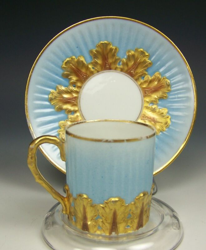 LIMOGES FRANCE BLUE GOLD GILT DEMITASSE CUP & SAUCER