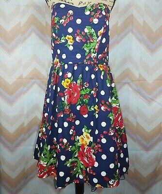 TORRID Sz 12 Navy blue Floral print Polka dot Strapless Party Dress Petticoat - Polka Dot Petticoat