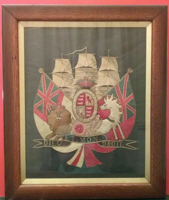 Antique Navel Sailor Needlework, Royal Coat Of Arms British Empire Flag, 1850