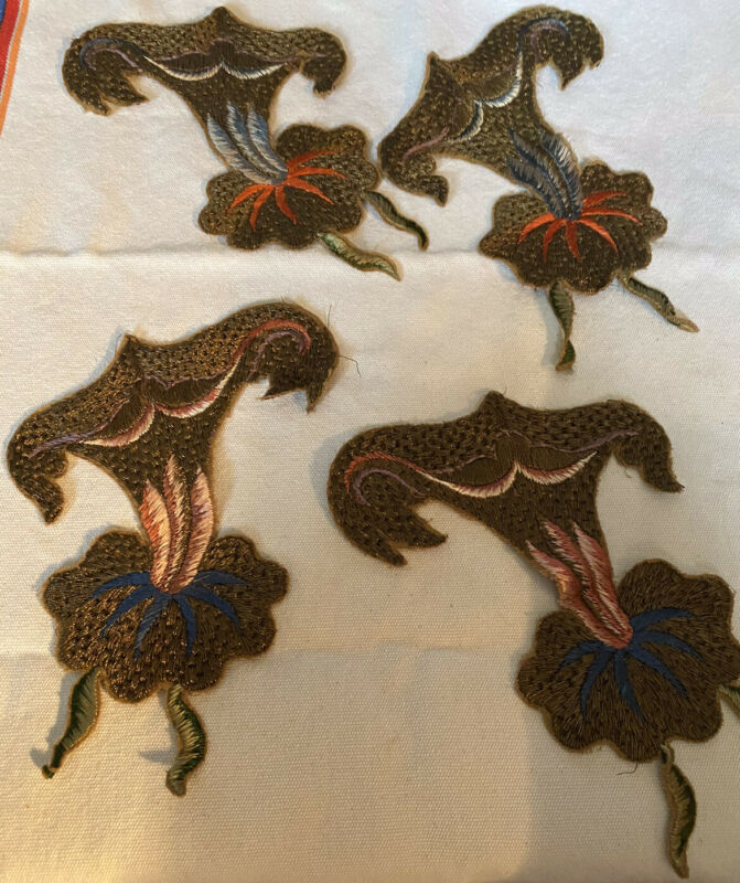 ANTIQUE FRENCH GILT BULLION EMBROIDERED APPLIQUES