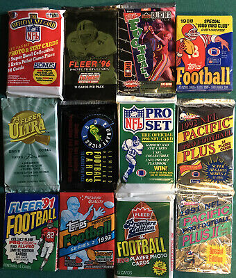 Unopened NFL Football Cards In Packs - Sealed Wax Packs - Lot Of 100 Cards