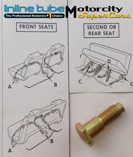 "GM SEAT BELT BOLT- 1 1/2"" LONG - FACTORY CORRECT GRADE 8  GOLD CAD PLATED 1pc"
