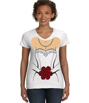 Wedding Dress T-shirt V-Neck Ladies Tee Funny Costume Bride Design Shirt