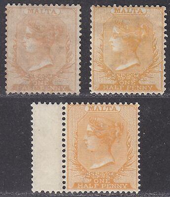 Malta 1863-82 Queen Victoria ½d perf 14 Shade Selection Mint