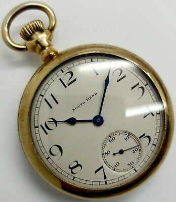 Vintage South Bend Grade 211 17 jewel 16s pocket watch Running