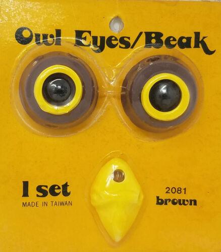 Vintage 32mm Brown Ceramic Owl Eyes & Yellow Beak Beads Set for Macrame Owl
