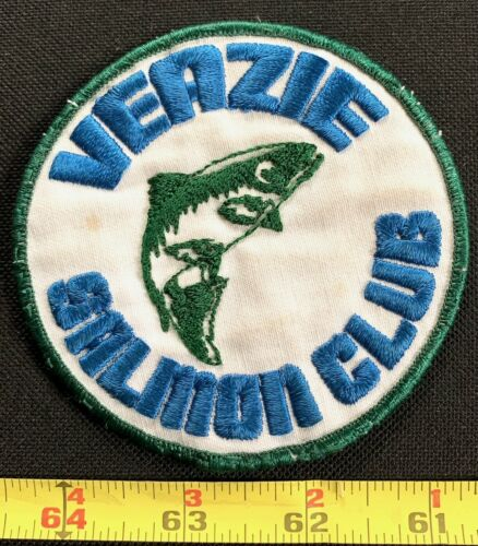 Vintage Veazie Salmon Club Fishing Embroidered Collectors Patch