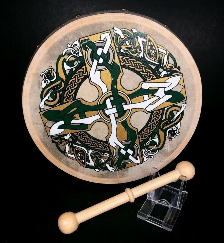 "Waltons Irish Hand Drum Bodhran Beater Traditional Musical Celtic 8"" Goatskin"