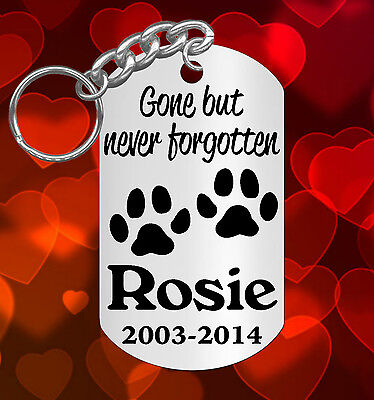 Dog Memorial Keychain, Gone but never forgotten, Pet Cat , Personalized FREE!