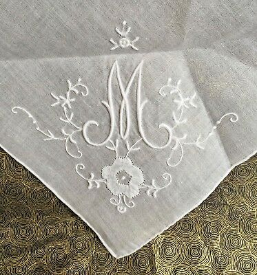 "ONE large, handkerchief, monogrammed, vintage, bride's hanky, White w/ white ""M"""