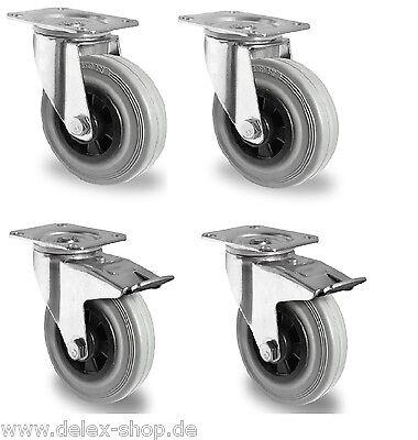 Satz Transportgeräterollen Gummi grau spurlos 160 Platte Lenkrolle Bremse